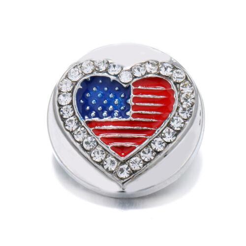 10pcs 18mm Heart Rhinestone Alloy Snap Buttons Fit Noosa Snap Bracelet N367
