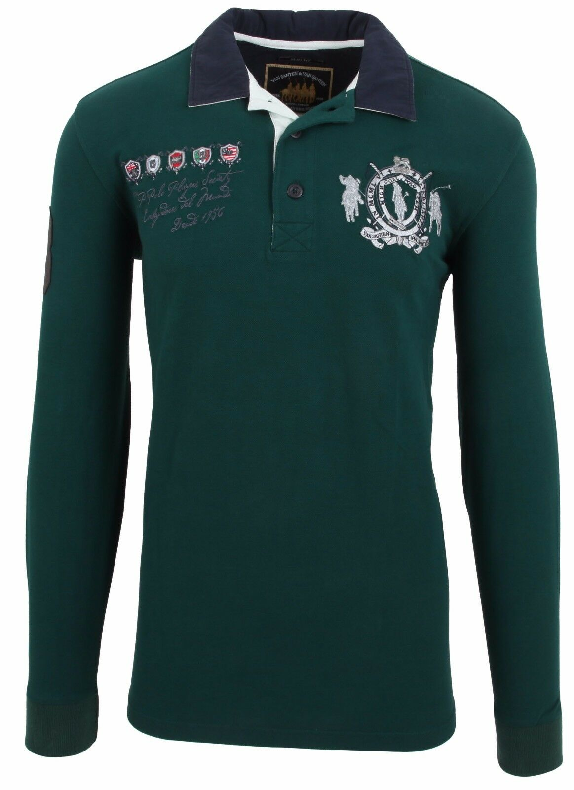VAN SANTEN & VAN SANTEN Sweatshirt Shirt Polo Größe L Baumwolle & Leder Grün NEU