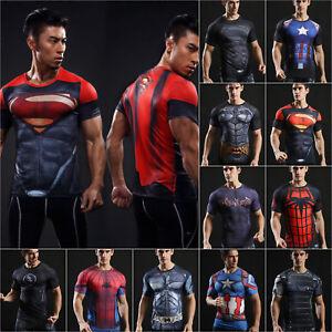 Mens-Marvel-Superhero-Compression-T-Shirt-Cycling-Sports-Fitness-Gym-Tops-Shirts