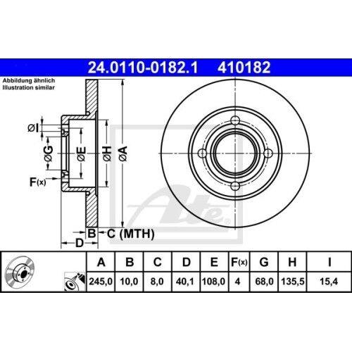 AUDI 80 SATZ 2x ATE Bremsscheibe AUDI 80 81 85 B2 AUDI 80 8 89 89Q 8A B3