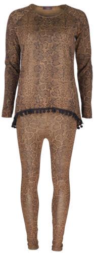 Ladies Snake Print Pom Pom Trim Detail Loungewear Tracksuit Set Top Leggings