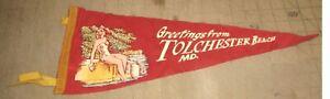 "Pre-1962 TOLCHESTER BEACH, MD 17.5"" 4-Tassel Red PENNANT - Bathing Beauty Art"