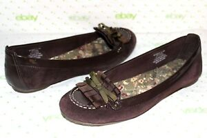 100% Vrai ✿ Sperry Top-sider Ashby Daim Marron Cuir Verni Plats 8 M Excellent ! Look ! 15