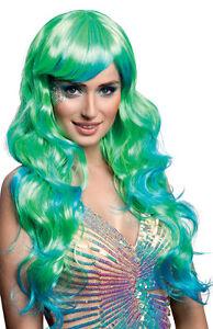 Sirène Perruque Mesdames Long Ondulé Aqua Bleu Vert Robe Fantaisie Mer Costume De Sorcière Cheveux-afficher Le Titre D'origine