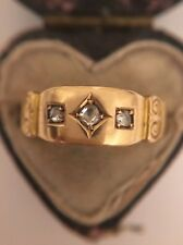 Antique Victorian 15ct Yellow Gold Rose Cut Diamond 3 Stone Gypsy Ring Band Scro
