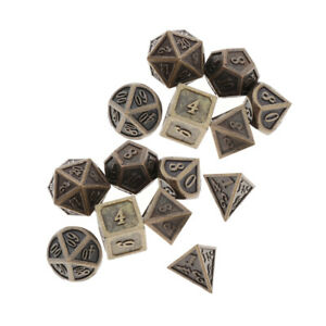 Pack of 14 Polyhedral Metal Dice Bronze for Dungeons/&Dragons DnD RPG Games