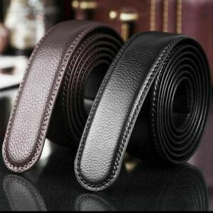 Herren-Ersatz-Echtes-Leder-Automatik-Guertel-Guertelriemen-Belts-ohne-Schnalle