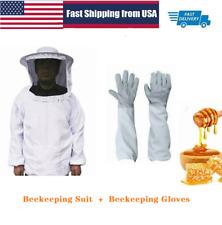 1pair Beekeeping Long Sleeve Gloves Protective Beekeeping Jacket Veil Suit Us