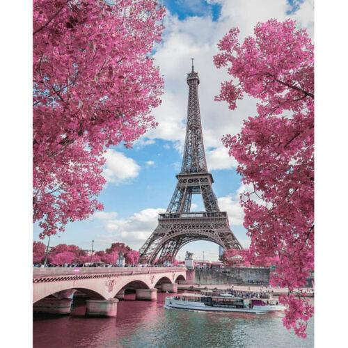 5D Diamond Painting Cherry Blossoms Tower Embroidery Cross Stitch Kits Art Decor