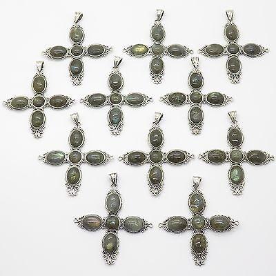Vintage Sterling Silver Large Labradorite Gem Set of 10 Gorgeous Cross Pendants