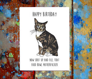 Image Is Loading Funny Cat Happy Birthday Greeting Card Cats Cute