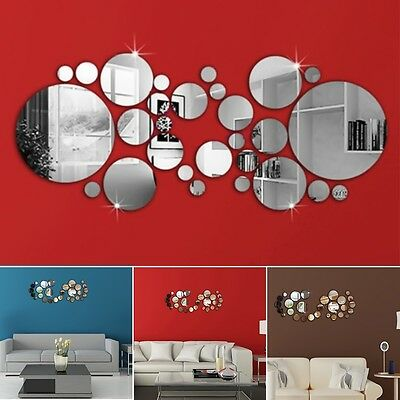 3D Circle Mirror Wall Sticker Acrylic Vinyl Decal Home Art Decor For Living Room