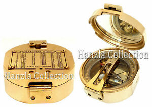 SUNDIAL compass Stanley London Brass nautical Polished Pocket Sundial Compass