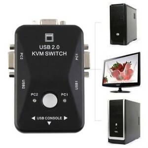 2-Port 1920x1440 USB 2.0 Switcher KVM Switch Mouse//Keyboard//VGA Video Monitor