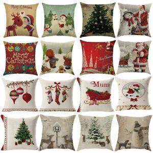 PM-Christmas-Santa-Linen-Throw-Pillow-Case-Cushion-Cover-Sofa-Bed-Car-Decor-E