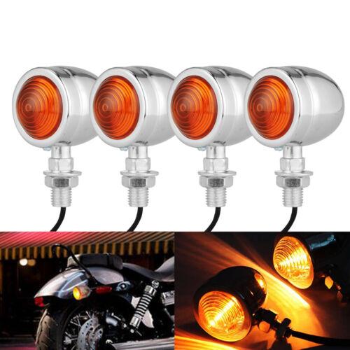4PCS Motorcycle Bullet Turn Signal Indicator Amber Lights Lamp Bulb For Harley