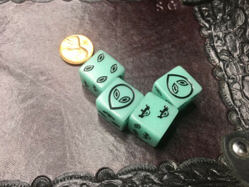 D6 Black on Glow in the Dark Green Alien Six Sided Dice for Tabletop Gaming