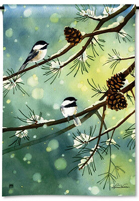 """CHICKADEES PERCHED IN WINTER PINE SMALL GARDEN BANNER FLAG 12.5x18"""" WINTER DECOR"""