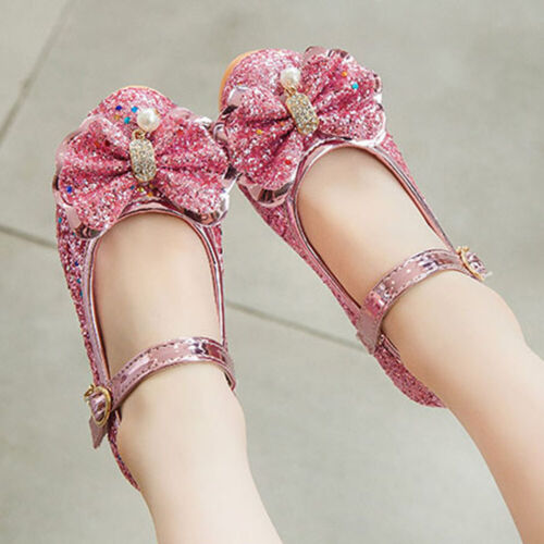 Kids Girls Crystal Pearl Bows Sequins Party Wedding Cocktail Heels Dress Shoes