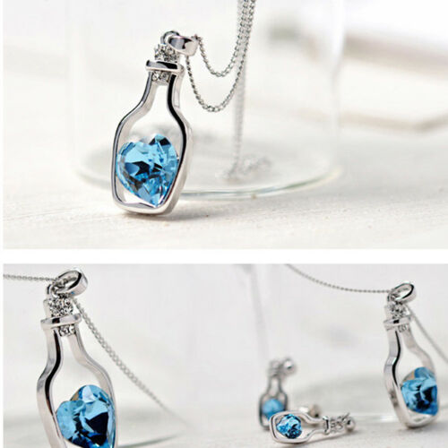 Lady Fashion Wish Bottle Love Heart Clavicle Chain Jewelry Necklace