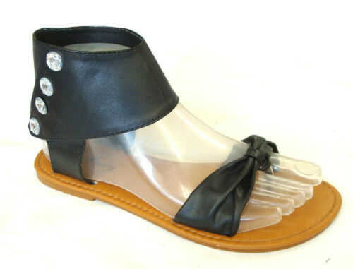 8058K New  Girls/' T-Strap Ankle Strap Jewel Gladiator Flat Sandals Clearance--