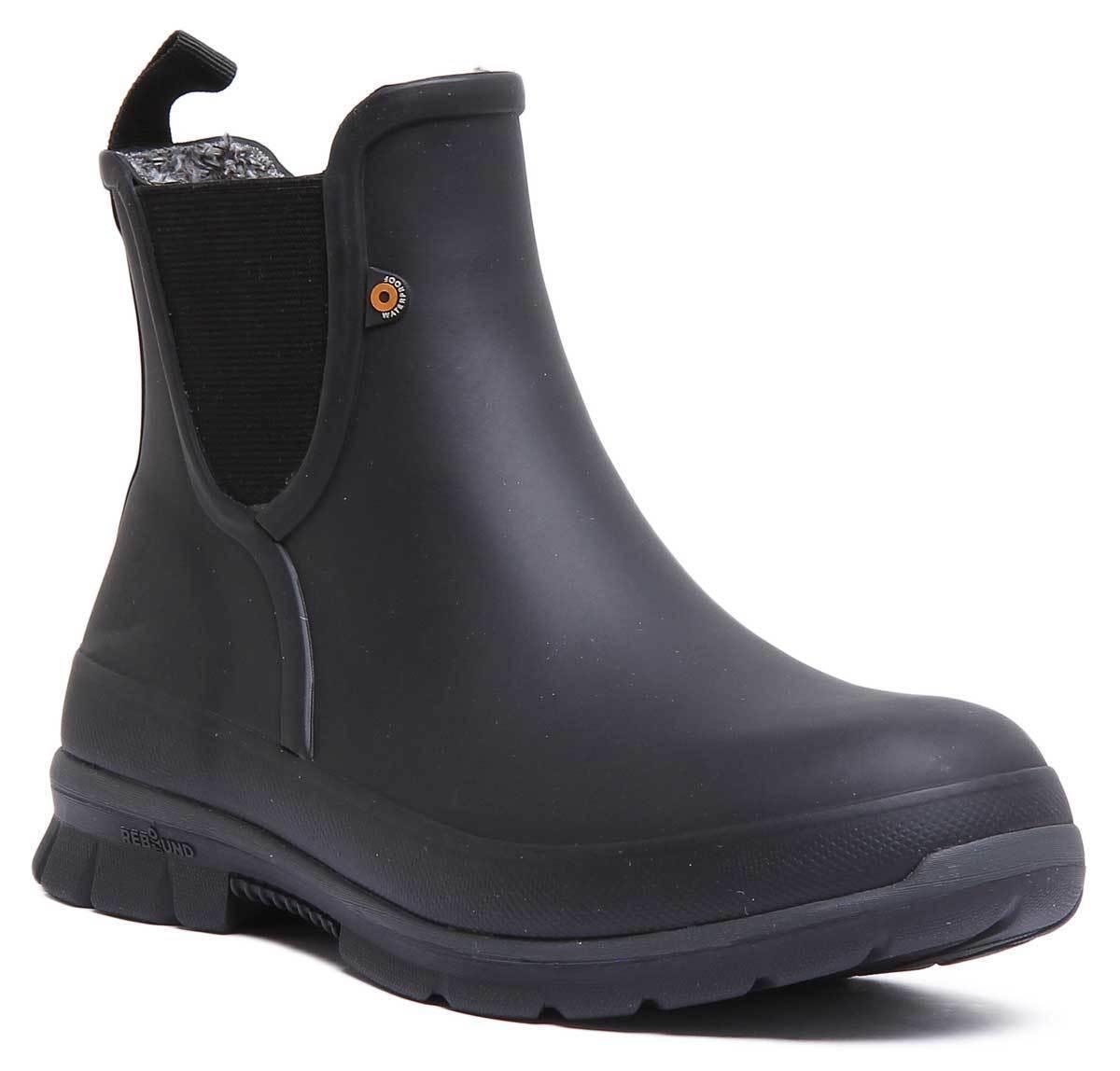 Amanda Plush Slip On Women Rubber Black Chelsea Rain Boots Size UK 3 - 8