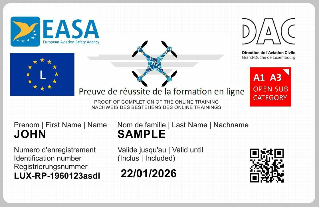 LUXEMBOURG Drone Regulatory ID card for EASA A1/A3 category holders CARD ONLY