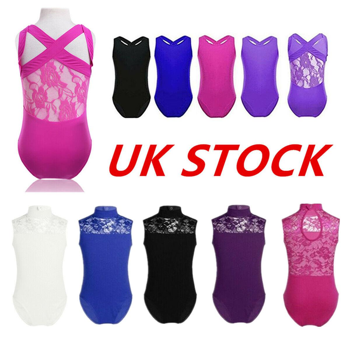 UK Girls Gymnastics Jumpsuit Ballet Leotard Dance Lace Tank Bodysuit Dancewear