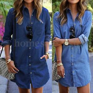 S-5XL-Zanzea-Women-Long-Sleeve-Denim-Jean-Lapel-Shirt-Dress-Short-Mini-Dress-Top