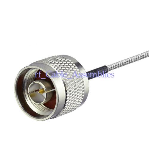 "50ohm N male to N male plug pigtail semi-rigid 0.141/"" cable RG402 4Inch ~40 Inch"