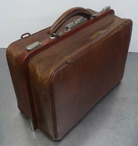 Antike-Hebamme-Doktor-Koffertasche-Koffer-Arzt-Leder-Tasche