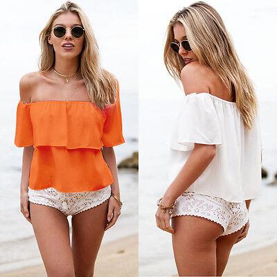 2015 Summer Women Sexy Off Shoulder Boho Chiffon Blouse Vest Shirt Crop TopS