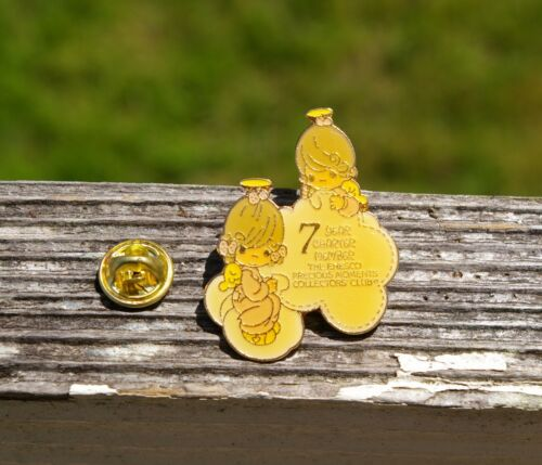 1987 Precious Moments 7 Year Charter Member Angels Cloud Pin Pinback Enesco Club