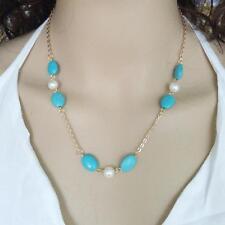 Collana dorata perle e pietre turchesi / Golden Necklace pearls turquoise #CD3