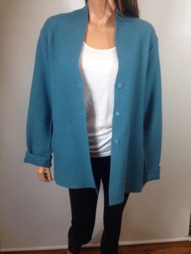 Eileen 100 Fisher blå L uldjakke størrelse qwrqfYF4