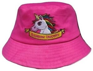 457cce98b737f NEW! Girls Kids Pink Rainbow Unicorn Summer Sun Bucket Bush Hat