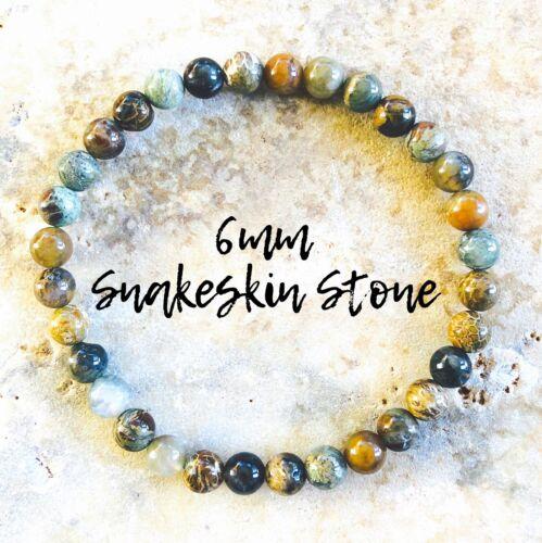 SNAKESKIN AGATE Bracelet 6mm AAA Grade Natural Stone Bracelet Healing Reiki