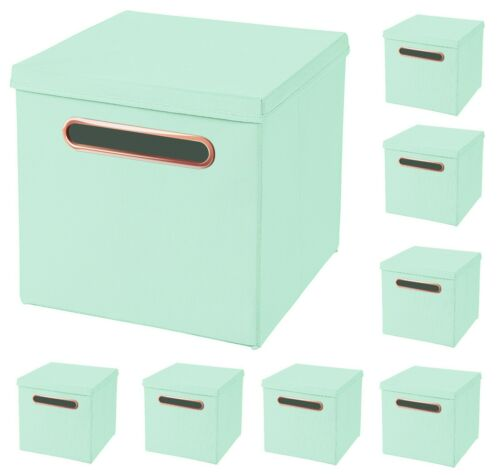 8x Luxury Rosegold Handle Folding In Mint 32,5 x 32,5 x 32,5 cm Storage Box