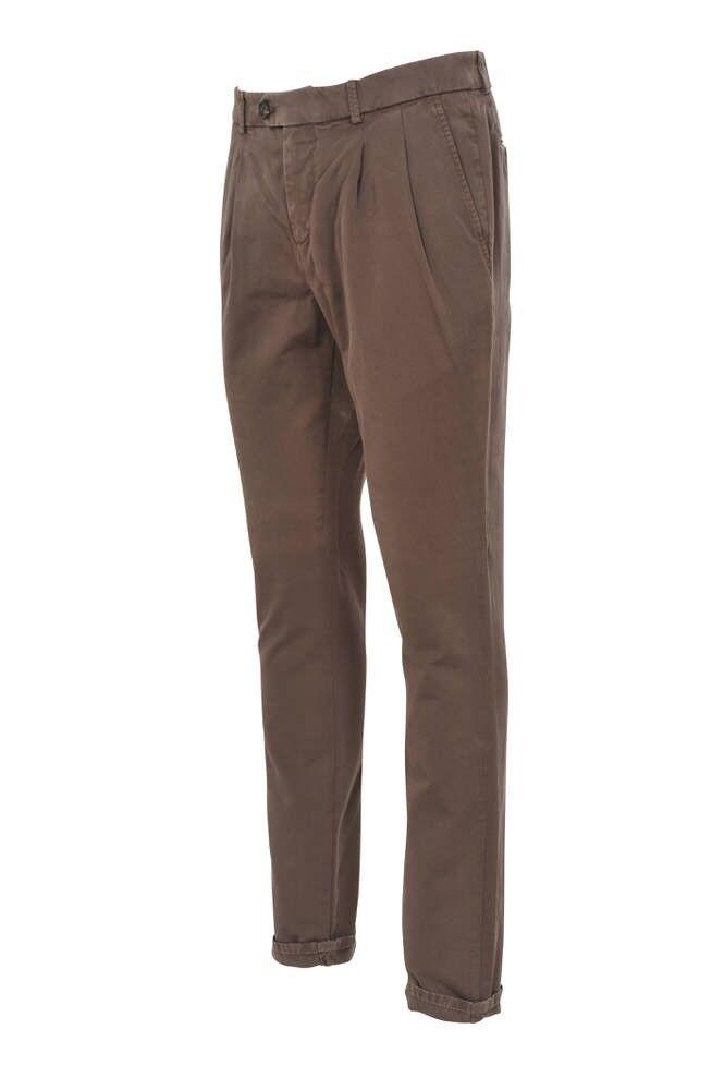 Brunello Cucinelli Pants - Men's 56  Brown Slim Fit Cotton  Plain
