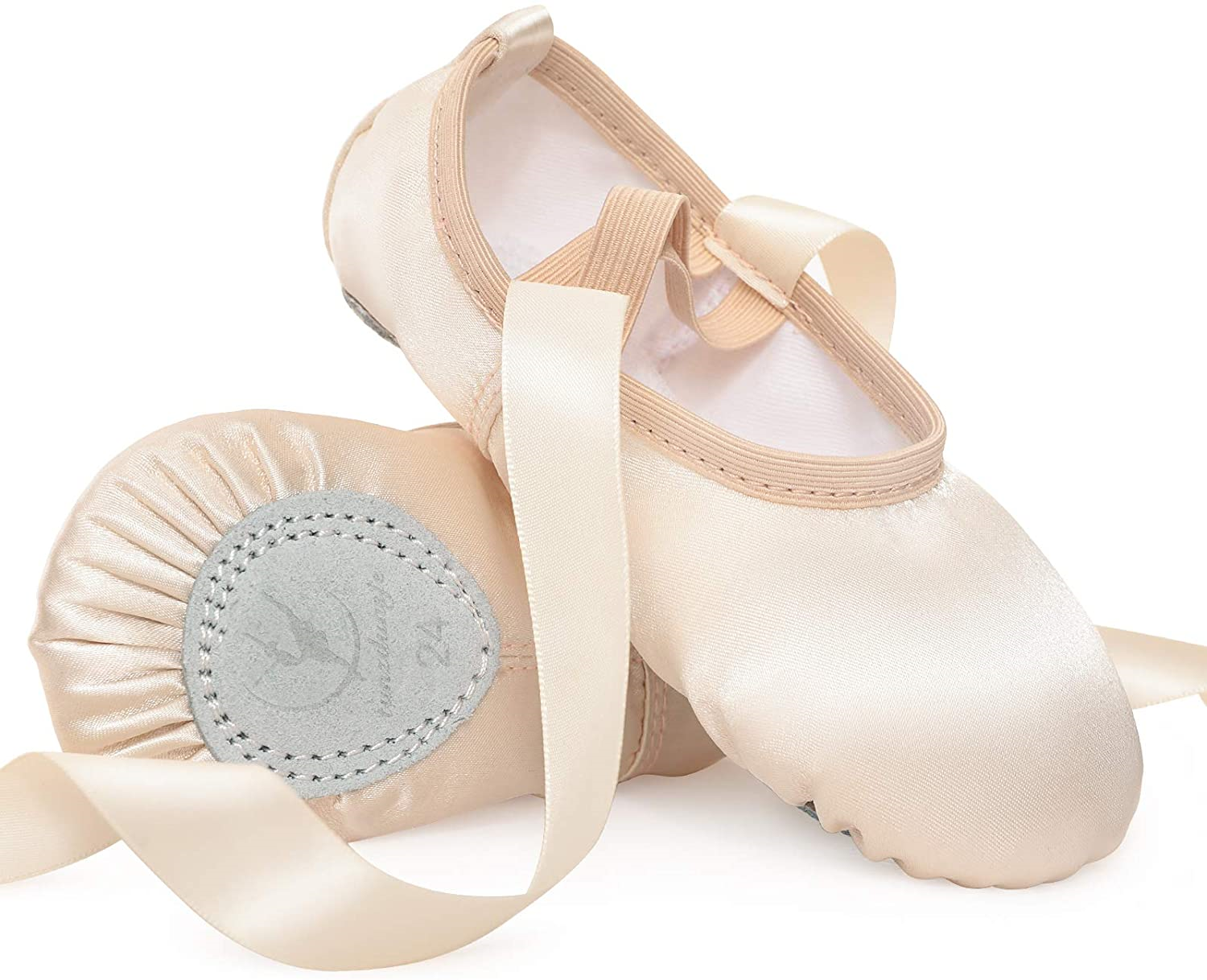 Satin Ballet Shoes Pink Ballet Dance Slippers with Ribbon Ballet Flat Leather