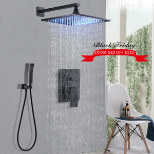 Details About 8 Oil Rubbed Bronze Led Shower Faucet Bathroom Luxury Head W Hand Sprayer