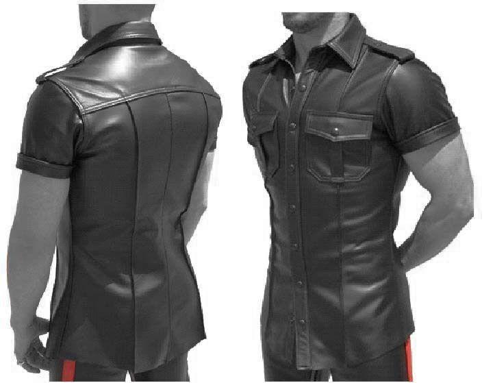 Aw-665 Camicia In Pelle Nera di Pelle Camicia, Soft Leather Shirt en cuir, cuoio UNIFORM