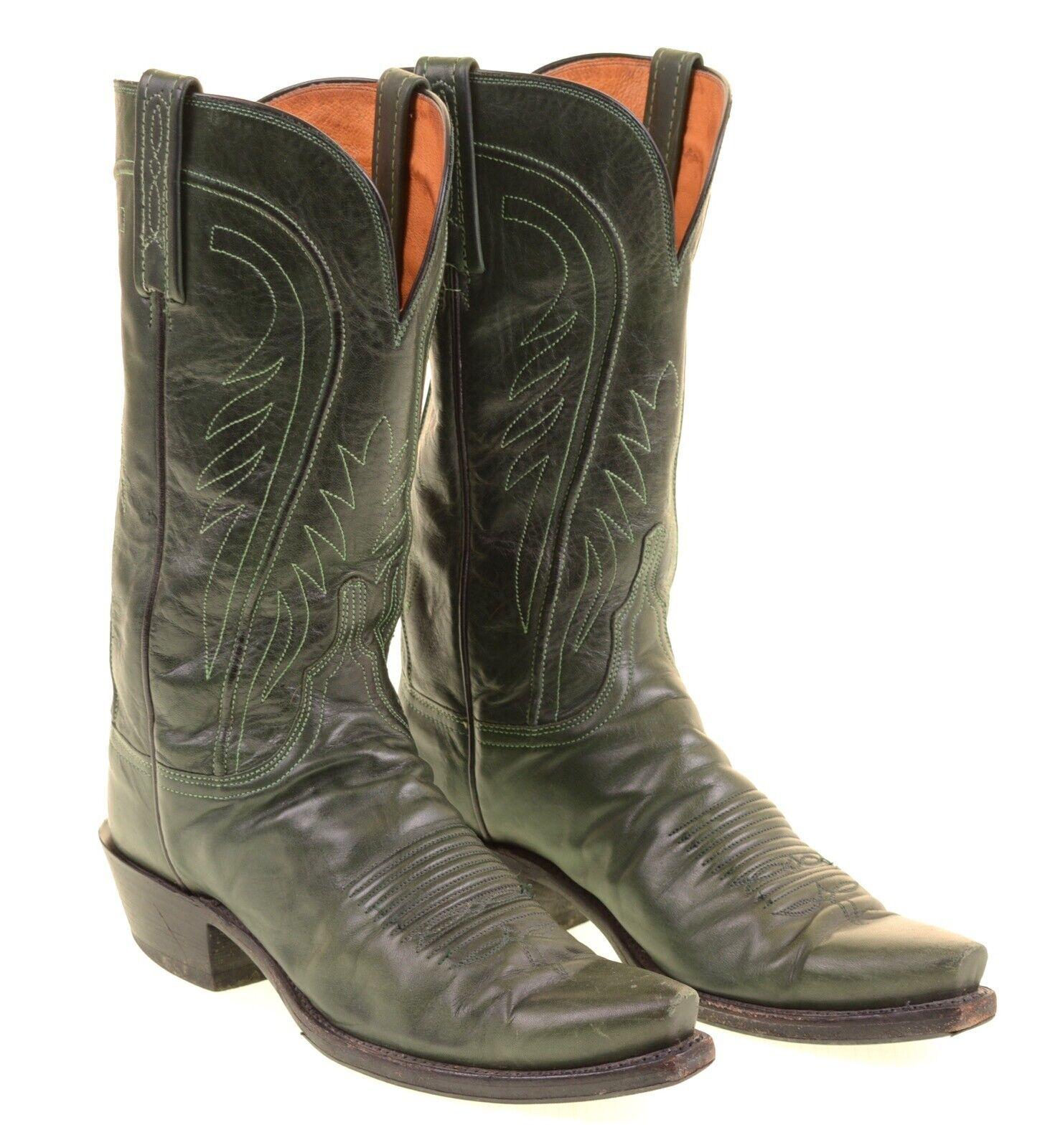 Lucchese 1883 Hergestellt in USA Grün Leder Western Cowboy Stiefel 8.5 B