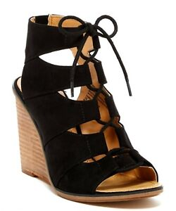 f843544a2be MELROSE   MARKET Womens  Calista  Black Lace Up Wedge Sandals Sz 6.5 ...