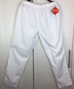 KLOPMAN-Pants-Polycotton-Mens-Work-Chefs-Pant-Elasticated-Waist-WHITE-L-X-30L