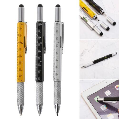 6 in 1 metal pen Multifunction Tool Ballpoint Pen Screwdriver Ruler Spirit Level