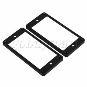 2-x-Black-Electric-Guitar-Flat-Humbucker-Pickup-Frame-Cover-Plate-Mounting-Rings