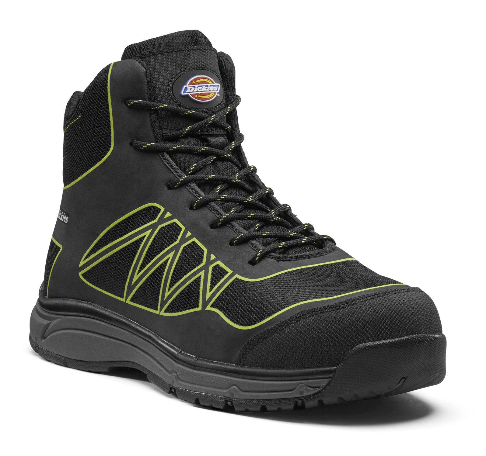 Dickies Phoenix Seguridad Botas De Trabajo Negro Negro Negro y cal (Tallas 6-14) Para Hombre Zapatos 28a4c9