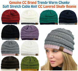512762116 Details about NEW! CC Beanie Trendy Warm Accent Lined Chunky Soft Stretch  Cable Knit Beanie