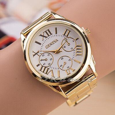 Women Lady Luxury Geneva Gold Stainless Steel Roman Analog Quartz Wrist Watch